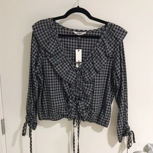 Plaid Ruffled Long Sleeve Blouse